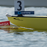 Omega, a boat starts racing <br /> <br /> Qualification races and training at the 2019 Junior Worlds, on the Sea Forest Waterway, Tokyo, Japan. Thursday 8  August 2019  © Copyright photo Steve McArthur / www.photosport.nz