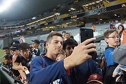 February 17, 2018 - Auckland, Auckland, New Zealand - Mitchell Santner of New Zealand takes selfies with fans after the T20 Tri series between New Zealand and Australia at Eden Park in Auckland on Feb 16, 2018. Australia win by 5 wickets. (Credit Image: © Shirley Kwok/Pacific Press via ZUMA Wire)