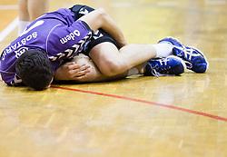 Mario Sostaric of Maribor Branik injured during handball match between RK Maribor Branik and RK Celje Pivovarna Lasko of 1st NLB Leasing League 2012/13, on April 24, 2013, in Arena Tabor, Maribor, Slovenia. (Photo By Vid Ponikvar / Sportida.com)