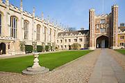 Trinity College courtyard, University of Cambridge, Cambridgeshire, England
