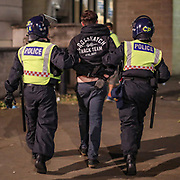 Police arrested a protestor who scuffled with police during late-night clashes with police in central London on Wednesday, June 3, 2020. (Photo/ Vudi Xhymshiti)
