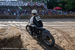 Daniel DeSoucey (69) on his 1945 Harley-Davidson WLA Flathead at the Bradford Beach Brawl, a TROG style beach racing event, during the Harley-Davidson 115th Anniversary Celebration event. Milwaukee, WI. USA. Saturday September 1, 2018. Photography ©2018 Michael Lichter.