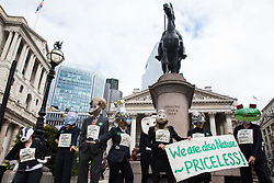 Extinction Rebellion climate activists protest in front of the Bank of England in the City of London on the eleventh day of their Impossible Rebellion protests on 2nd September 2021 in London, United Kingdom. Extinction Rebellion are calling on the UK government to cease all new fossil fuel investment with immediate effect.