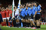 The Uruguay team lines up for their national anthem .Rugby World Cup 2015 pool A match, Wales v Uruguay at the Millennium Stadium in Cardiff, South Wales  on Sunday 20th September 2015.<br /> pic by  Andrew Orchard, Andrew Orchard sports photography.