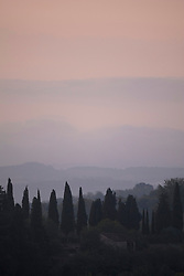 Early morning landscape on Val di Pesa in Tuscany, Val di Pesa, Tuscany, Italy