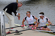 Henley, GREAT BRITAIN,  2012 Henley Royal Regatta. The Leander Club crew, are congratulated, after winning, the Double Sculls Challenge Cup. Sunday  14:50:58  01/07/2012 [Mandatory Credit, Intersport-images] ..Rowing Courses, Henley Reach, Henley, ENGLAND . HRR.