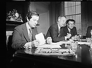 E.E.C. Foundation for the Improvement of Living and Working Conditions.     (K25).1976..07.05.1976..05.07.1976..7th May 1976..A press conference was held today by the Administrative Board of the European Foundation for the Improvement of Living and Working Conditions. The press conference was held at Dublin Castle, Dublin..Image shows (L-R) Mr Peter Doyle, Deputy Director,EEC Information Office, Dublin, Mr Michel Carpentier, Chairman,Administrative Board, European Foundation and Mr Denis Conboy,EEC Information Office, Dublin who took part in the press conference today.