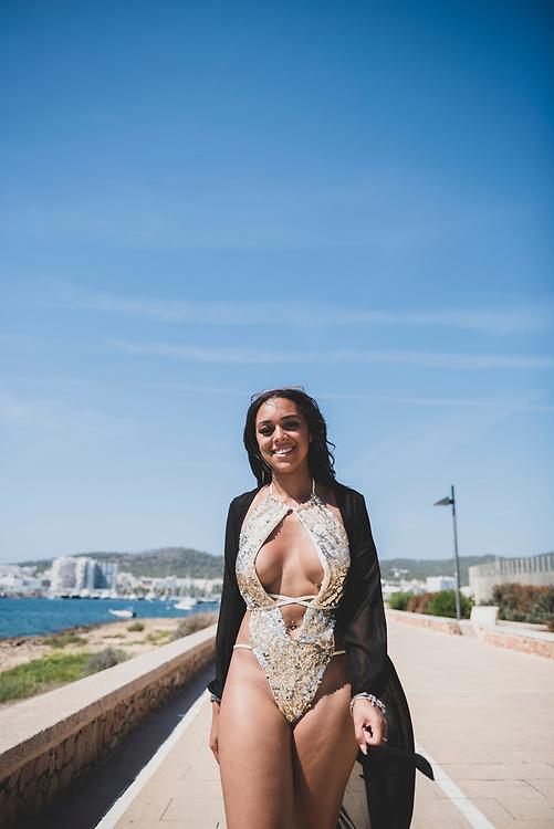 Chanice Williams, from London, in Sant Antoni, Ibiza