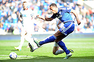 Cardiff City's Kenneth Zohore scores his teams 1st goal to equalise at 1-1 against Bolton. Skybet football league championship match, Cardiff city v Bolton Wanderers at the Cardiff city Stadium in Cardiff, South Wales on Saturday 23rd April 2016.<br /> pic by Carl Robertson, Andrew Orchard sports photography.