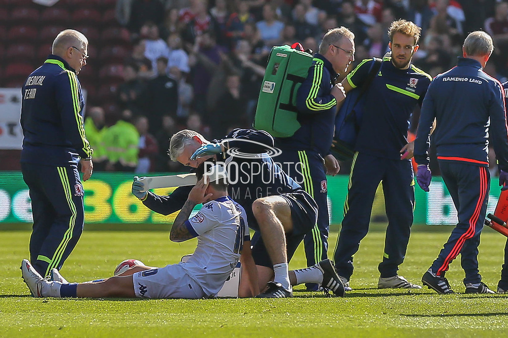 Leeds United midfielder Alex Mowatt  gets bandaged up during the Sky Bet Championship match between Middlesbrough and Leeds United at the Riverside Stadium, Middlesbrough, England on 27 September 2015. Photo by Simon Davies.