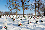 65095-03017 Wreaths on graves in winter Jefferson Barracks National Cemetery St. Louis,  MO