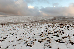 © Licensed to London News Pictures. 21/01/2021. Rhayader, Powys, Wales, UK. A wintry landscape in the Elan Valley near Rhayader, Powys, UK. after overnight snow fell in Powys, Wales, UK. Photo credit: Graham M. Lawrence/LNP