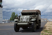 Halftrack driving around at Warbirds Over the West at McNary Field.