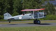 Boeing 40 taking off  at Ken Jernstedt Airfield.