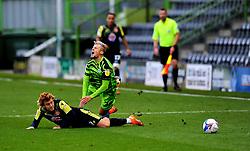 Arthur Read of Stevenage tackles Josh March of Forest Green Rovers- Mandatory by-line: Nizaam Jones/JMP - 17/10/2020 - FOOTBALL - innocent New Lawn Stadium - Nailsworth, England - Forest Green Rovers v Stevenage - Sky Bet League Two