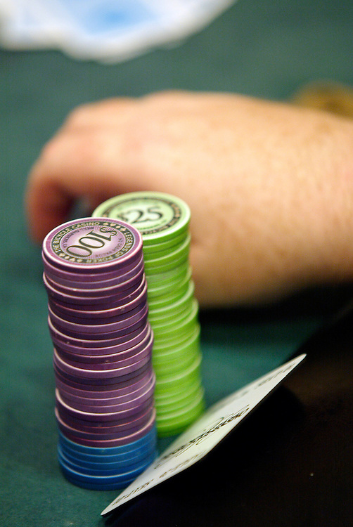September 1, 2003: Poker chips at the World Poker Tour event at the Bicycle Club in Los Angeles.