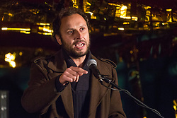 London, UK. 5 November, 2019. Croatian philosopher Srećko Horvat addresses supporters of the Don't Extradite Assange Campaign assembled outside the Home Office to protest against the extradition of Wikileaks whistleblower Julian Assange to the United States. Rapper M.I.A. performed at the protest and the other speakers included Assange's father John Shipton and fashion designer Vivienne Westwood.