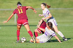 04 November 2016:  Sienna Cruz(11), Colleen Dierkes(24) and Mikayla Harey(12) during an NCAA Missouri Valley Conference (MVC) Championship series women's semi-final soccer game between the Loyola Ramblers and the Evansville Purple Aces on Adelaide Street Field in Normal IL