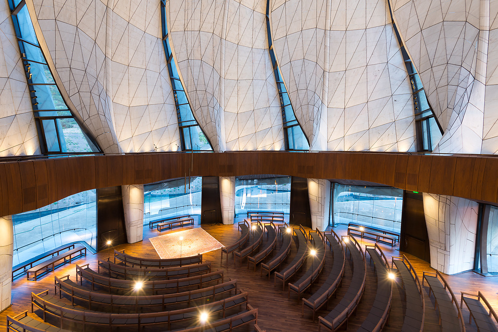 Santiago, Region Metropolitana, Chile - The interior of the eight Bahá'í temple in the world and first in South America, located at the foot of the Andes mountain Range.