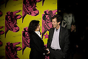 Bianca Jagger; Ralph Rugoff,  ANDY WARHOL: OTHER VOICES, OTHER. ROOMS.  The Hayward Gallery. Southbank. 6 October 2008 *** Local Caption *** -DO NOT ARCHIVE-© Copyright Photograph by Dafydd Jones. 248 Clapham Rd. London SW9 0PZ. Tel 0207 820 0771. www.dafjones.com.