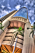 An HDR image of the Harbor Court Building in downtown Honolulu, Hawaii.