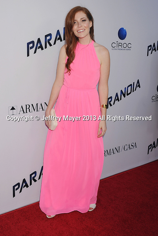 LOS ANGELES, CA- AUGUST 08: Actress Haley Finnegan arrives at the 'Paranoia' - Los Angeles Premiere at DGA Theater on August 8, 2013 in Los Angeles, California.