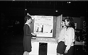 03/01/1967.01/03/1967.3rd January 1967.The third annual Aer Lingus Young Scientist Exhibition at the RDS..Aine Ni Mhurnain from Clocher Lughaidh Monaghan shows her exhibit 'Eifeacht Gaethe X ar Pheacu agus Fas Siolta' to Maire Ni Canna and Deirdre De Brian, both of Clocher Lughaidh Rath Maonais, Baile Atha Cliath.