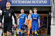 AFC Wimbledon mascot walking out with team during the The FA Cup 3rd round match between Tottenham Hotspur and AFC Wimbledon at Wembley Stadium, London, England on 7 January 2018. Photo by Matthew Redman.