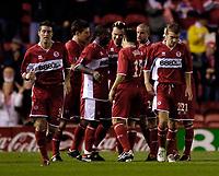Photo: Jed Wee.<br />Middlesbrough v Dnipro. UEFA Cup. 03/11/2005.<br /><br />Middlesbrough celebrate with goalscorer Mark Viduka (C).