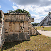 Buiding in front of Temple of Kukulkan (El Castillo) at Chichen Itza Archeological Zone, ruins of a major Maya civilization city in the heart of Mexico's Yucatan Peninsula.