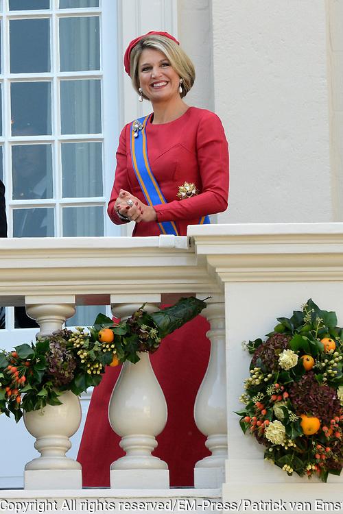 Prinsjesdag 2014 - Balkonscene op Paleis Noordeinde  /// Parlementday 2014 - Balcony Scene at Palace Noordeinde<br /> <br /> Op de foto:  Koningin Maxima  // Queen Maxima