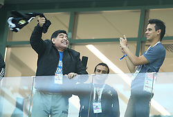 June 21, 2018 - Nizhny Novogorod, Russia - Group D Argentina v Croazia - FIFA World Cup Russia 2018.Former Argentina legend Diego Armando Maradona on the stands at Nizhny Novgorod Stadium, Russia on June 21, 2018. (Credit Image: © Matteo Ciambelli/NurPhoto via ZUMA Press)