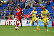 Ravel Morrison of Cardiff city in action on his debut. . Skybet football league championship match, Cardiff city v Sheffield Wed at the Cardiff city stadium in Cardiff, South Wales on Saturday 27th Sept 2014<br /> pic by Andrew Orchard, Andrew Orchard sports photography.