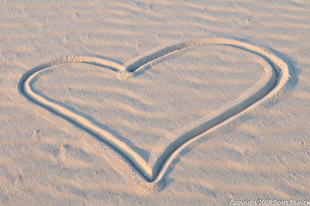 A heart drawn in the sand at White Sands National Monument in New Mexico.