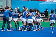 Italy celebrate their victory in the penalty shoot out in their match against South Africa in the Investec Hockey World League Semi Final 2013, Quintin Hogg Memorial Sports Ground, University of Westminster, London, UK on 29 June 2013. Photo: Simon Parker