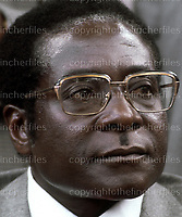 President Robert Mugabe seen at a press conference in Harare,Zimbabwe shortly before Independence in 1980. Photograph by Terry Fincher