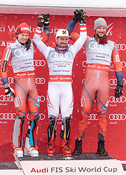 18.03.2018, Aare, SWE, FIS Weltcup Ski Alpin, Finale, Aare, Gesamt Weltcup, Herren, Siegerehrung, im Bild v.l. Henrik Kristoffersen (NOR, Gesamt Weltcup 2. Platz, Slalom Weltcup 2. Platz, Rieseslalom Weltcup 2. Platz), Marcel Hirscher (AUT, Gesamt Weltcup 1. Platz und Slalom Weltcup 1. Platz), Axel Lund Svindal (NOR, Gesamt Weltcup 3. Platz) // f.l. Overall World Cup second placed Giant Slalom World Cup second placed and Slalom World Cup second placed Henrik Kristoffersen of Norway Overall World Cup winner Slalom World Cup winner and Giant Slalom World Cup winner Marcel Hirscher of Austria Overall World Cup third placed Axel Lund Svindal of Norway during the allover winner Ceremony for the men's Worlcup of FIS Ski Alpine World Cup finals in Aare, Sweden on 2018/03/18. EXPA Pictures © 2018, PhotoCredit: EXPA/ Johann Groder