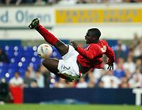 Photo: Chris Ratcliffe.<br /> England U21 v Moldova U21. European Championship Qualifier. 15/08/2006.<br /> Micah Richards of England U21 tries an acrobatic shot on goal.
