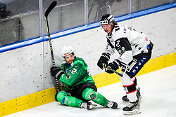 Guillaume Leclerc of HK SZ Olimpija vs Ryan Culkin of HC Orli Znojmo during ice hockey match between HK SZ Olimpija Ljubljana and HC Orli Znojmo in bet-at-home ICE Hockey League, on October 17, 2021 in Hala Tivoli, Ljubljana, Slovenia. Photo by Morgen Kristan / Sportida