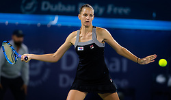 February 19, 2019 - Dubai, ARAB EMIRATES - Karolina Pliskova of the Czech Republic in action during her second-round match at the 2019 Dubai Duty Free Tennis Championships WTA Premier 5 tennis tournament (Credit Image: © AFP7 via ZUMA Wire)