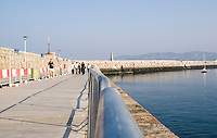 Dun Laoghaire Pier in Dublin Ireland, currently undergoing construction to resurface it.