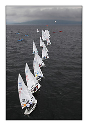 470 Class European Championships Largs - Day 1.Racing in grey and variable conditions on the Clyde..Men's Fleet Startline