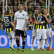 Fenerbahce's celebrates his goal Caner Erkin, Hasan Ali Kaldirim, Gokhan Gonul, Raul JoseTrindade Meireles, Dirk Kuyt (L-R) during their Turkish Superleague soccer derby match Fenerbahce between Besiktas at Sukru Saracaoglu stadium in Istanbul Turkey on Sunday 07 October 2012. Photo by TURKPIX
