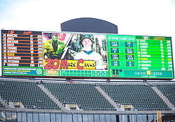 May 5, 2018 - Oakland, CA, U.S. - OAKLAND, CA - MAY 05: A picture of Oakland Athletics first baseman Mark Canha (20) is shown on the scoreboard at Marvels Night during the regular season game between the Oakland Athletics and the Baltimore Orioles on May 5, 2018 at Oakland-Alameda County Coliseum in Oakland,CA (Photo by Samuel Stringer/Icon Sportswire) (Credit Image: © Samuel Stringer/Icon SMI via ZUMA Press)