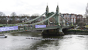London, Great Britain.<br /> Both Women's Crews pass through Hammersmith Bridge, during the  2016 Varsity Boat Race. Championship Course Mortlake to Putney. River Thames. Sunday  27/03/2016<br /> <br /> [Mandatory Credit: Intersport images]