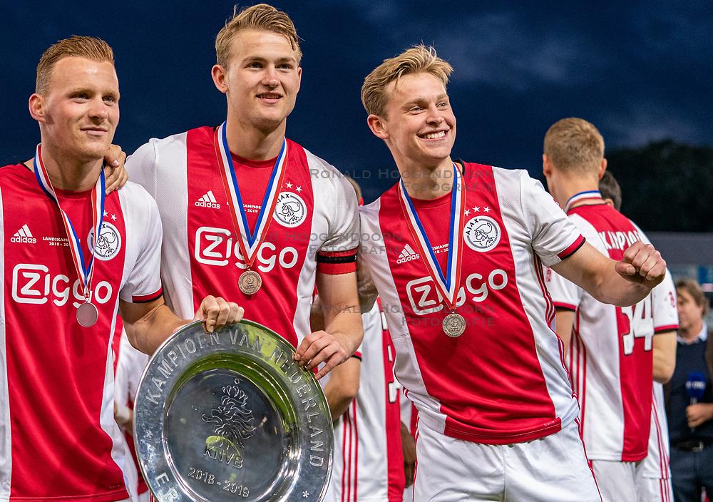 15-05-2019 NED: De Graafschap - Ajax, Doetinchem<br /> Round 34 / It wasn't really exciting anymore, but after the match against De Graafschap (1-4) it is official: Ajax is champion of the Netherlands / Dani de Wit #30 of Ajax, Matthijs de Ligt #4 of Ajax, Daley Blind #17 of Ajax