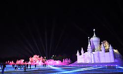 January 3, 2018  - Harbin, China - Tourists visit the Sun Island International Snow Sculpture Art Expo in Harbin, capital of northeast China's Heilongjiang Province, Jan. 3, 2018. Snow Wonderland, a 3D snow-light show applying modern sound, light and digital technologies has been displayed at Sun Island International Snow Sculpture Art Expo recent days.  hxy) (Credit Image: © Wang Jianwei/Xinhua via ZUMA Wire)
