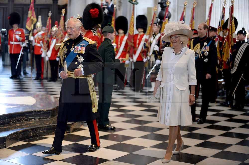 © London News Pictures. 18/06/2015. London, UK. Image of HRH the Prince of Wales and the Duchess of Cornwall, Camilla Bowles.  following a service of commemoration at St Paul's Cathedral to mark the 200th Anniversary of the Battle of Waterloo.  Photo credit: Sergeant Rupert Frere/LNP