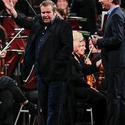 NLD/Haarlem/20121002- Opname AVRO's programma Maestro, presentator Frits Sissing en Michiel Romeijn