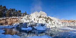 Winter panorama at Fall Creek Falls in Swan Valley Idaho.  This fine day was eighteen degrees below zero
